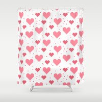 postcard Shower Curtains featuring Seamless abstract 8-bit heart postcard template by Xinnie and RAE