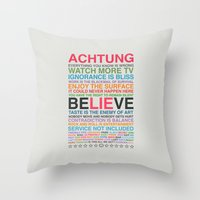 u2 Throw Pillows featuring U2 ZOO TV  by avoid peril