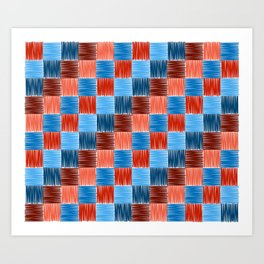 background squares blue red embroidery Art Print