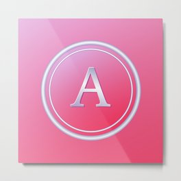 Silver and Pink Monogram - A Metal Print
