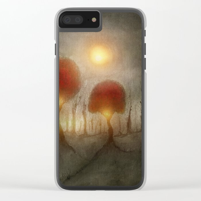 Red Trees Clear iPhone Case