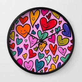 Smiling Heart Print Wall Clock
