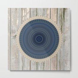 Blue Burlap Mandala over Wood Metal Print