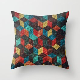 Colorful Isometric Cubes Throw Pillow