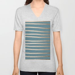 Abstract Drawn Stripes Gold Tropical Ocean Blue Unisex V-Neck