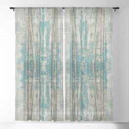 Rustic Wood Turquoise Weathered Paint Wood Grain Sheer Curtain