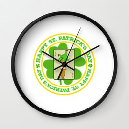 "Guys! Have This St. Patrick's Tee Saying ""Happy St. Patrick's Day"" T-shirt DesignFour-Cleaf Clover Wall Clock"
