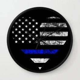 Thin Blue Line Police Officer LEO USA America Flag Heart Gift Cop Sherrif Blue Lives Matter Wall Clock