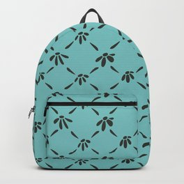 Floral Geometric Pattern Chocolate Brown Aqua Sky Backpack
