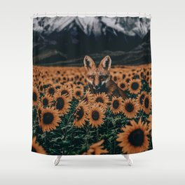 fox and sunflowers Shower Curtain