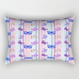 Butterflies and Stripes Pattern Rectangular Pillow