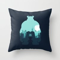 monsters inc Throw Pillows featuring Welcome To Monsters, Inc. by filiskun