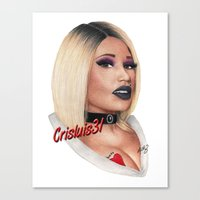 minaj Canvas Prints featuring Killer Bride Drawing by Crisluis31