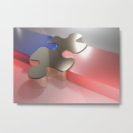 Golden puzzle joins blue and pink puzzle pieces - 3D rendering Metal Print