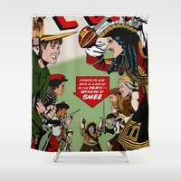 captain hook Shower Curtains featuring Hook Comic by mikaelak