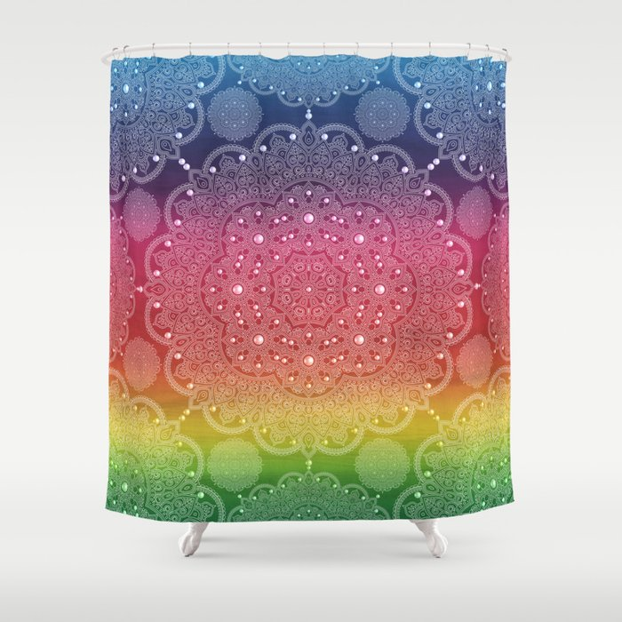 Rainbow Pearl Mandala Blue Purple Red Yellow Green Shower Curtain by ...
