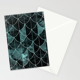 Mermaid scales. Mint and black. Stationery Cards