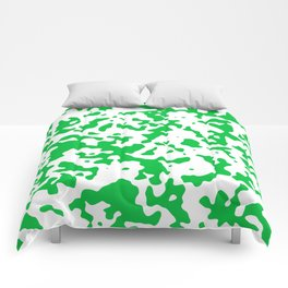 Spots - White and Dark Pastel Green Comforters