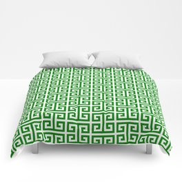 Green and White Greek Key Pattern Comforters
