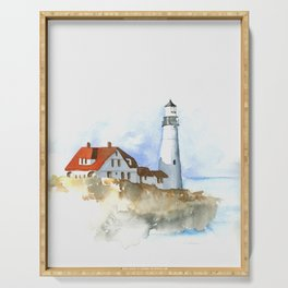 Lighthouse in Morning Light Serving Tray