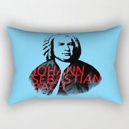 Johann Sebastian Bach portrait in grays with red text Rectangular Pillow