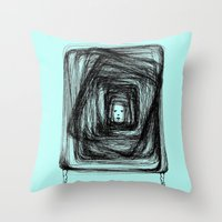 no face Throw Pillows featuring Face by KRNago