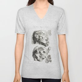 Human Anatomy Art Print HEAD MUSCLE FACE Vintage Anatomy, doctor medical art, Antique Book Plate, Me Unisex V-Neck
