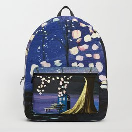 Tardis With Blossom Tree Art Painting Backpack