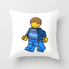 Minifigure in Sweater Throw Pillow