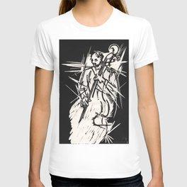 Bossa Pizzicato Jazz Bassist Black and White Block Print T-shirt