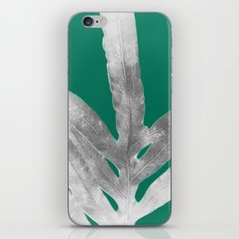 Christmas Fern, Holiday Green with Silver Winter Leaf iPhone Skin