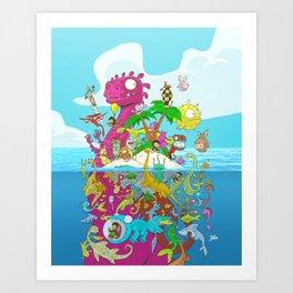 What lies beneath the ocean? Art Print
