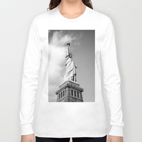 statue of liberty 4 black white Long Sleeve T-shirt