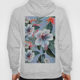Hawaii, tropical hibiscus vintage style blue dream palm leaves Hoody