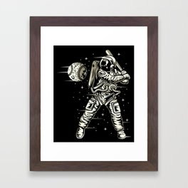 Space Baseball Astronaut Framed Art Print