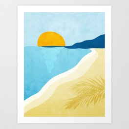 Empty beach at sunset. Art Print