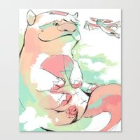 appa Canvas Prints featuring Appa and Momo by lavaniteuse