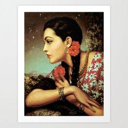 Mexican Calendar Girl in Profile by Jesus Helguera Art Print