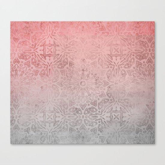 Oriental ornament pattern Rose Quartz Canvas Print
