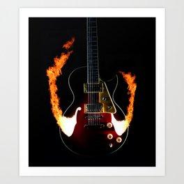 Burning Rock Guitar Art Print