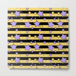 Purple stars on black and yellow striped Metal Print