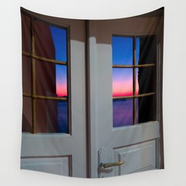 Sunset through the door Wall Tapestry