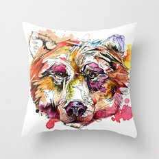 Vivid Grizzly Throw Pillow