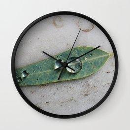 Leaf with Tropical Rain Drop Botanical Green Minimalist Nature Photography Wall Clock
