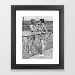 Tennis Players Taking a Cigarette Break, Black and White Vintage Art Framed Art Print