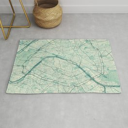 Paris Map Blue Vintage Rug
