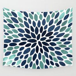 Flower Bloom, Aqua and Navy Wall Tapestry