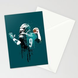 Sports art _ Nick Foles on green Stationery Cards