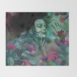 """""""Sirena between pastel cactus flowers"""" Throw Blanket"""