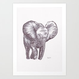 BALLPEN ELEPHANT 3 Art Print